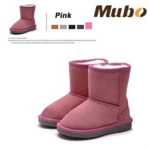 Warm Winter Pink Sheepskin Girl′s Snow Boot pictures & photos