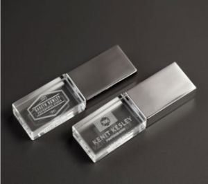 Custom Logo Crystal USB Flash Pen Drive with LED Light pictures & photos