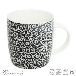 12oz Ceramic Mug with Black Flower Decal Design pictures & photos