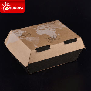 Disposable Custom Packaging Paper Burger Clamshell Box for Fast Food pictures & photos