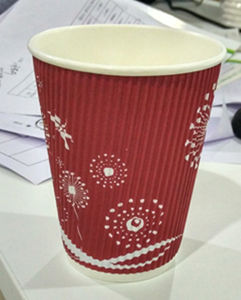 Ripple Wall Paper Cup Hot Drink Cup with Cover