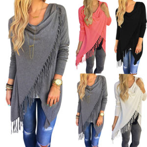 Women′s Long Sleeve Pure Color Tassel Slash Blouse Tops Shirt pictures & photos