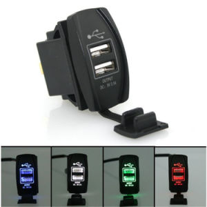 12V 3.1A Motorcycle Car Dual USB Power Charger Port Socket Plug Blue LED pictures & photos