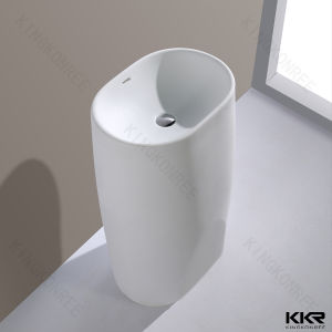 Diamond Design White Solid Surface Pedestal Sink (B170927) pictures & photos
