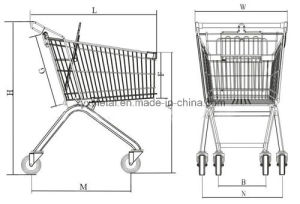 Supermarket Metal Shopping Cart with Elevator Wheels (60L-270L) pictures & photos