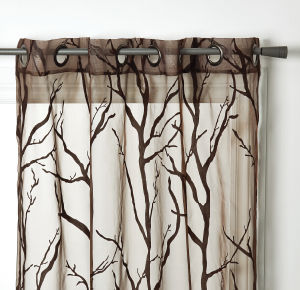 Flocked Voile Grommet Window Curtain pictures & photos
