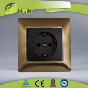 TUV Certified Golden Metal Schuko Socket Switch pictures & photos