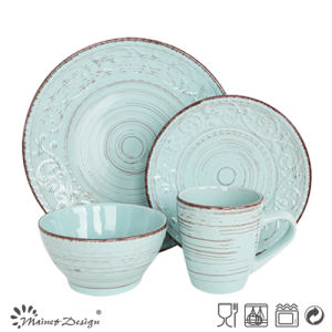 OEM Popular New Original Design Quality Products Embossed Ceramic Dinner Set pictures & photos