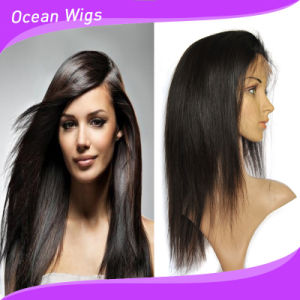 Black Color Human Hair Straight Front Lace Wig pictures & photos
