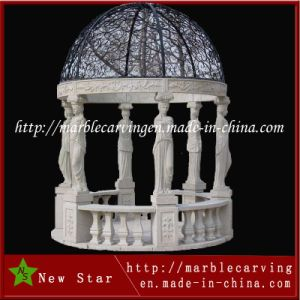 Decorative Stone Marble Garden Round Gazebo Pavilion with Metal Roof pictures & photos