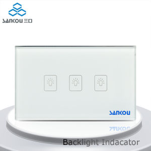 Sankou Us/Au Standard, White Crystal Glass Panel, 3-Gang 2-Way Touch Control Light Switch with LED