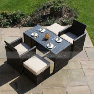 Mtc-229 Outdoor Garden 2 Seaters Cube Dining Set with Ottoman Rattan Furniture pictures & photos
