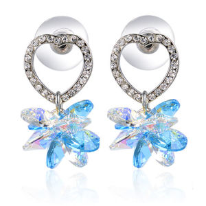 New Design Imitation Sapphire Jewelry Crystal Rhinestone Alloy Heart Drop Earrings pictures & photos