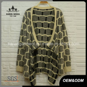 Ladies Hairy Plaid Pattern Knitted Waterfall Caridgan Winter Coat pictures & photos