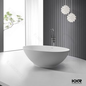 Kingkonree White Modern Artificial Stone Solid Surface Bathtub pictures & photos