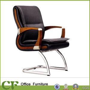 Solid Wooden Armrest Low Back PU Visitor Chair for Reception pictures & photos
