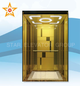 Passenger Elevator with Golden Etching Stainless Steel Finish pictures & photos