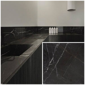 High-Polished Bulgaria Grey/Black Marble Slab/Tiles for Flooring/Skirting Tiles/Counter Tops/Worktops