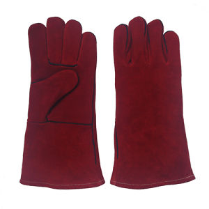 Red Cowhide Split Leather Industrial Hand Welding Work Gloves pictures & photos