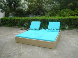 New Design Garden Rattan Outdoor Furniture Double Sun Bed Chaise Lounger (YTF552) pictures & photos