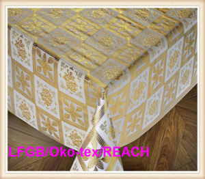 137cm Width Gold PVC Crochet Tablecloth on Roll Factory pictures & photos