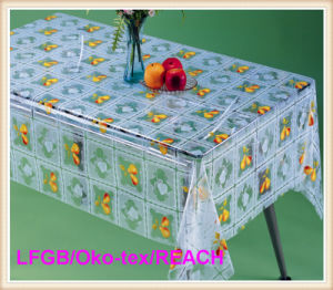 Cheap PVC Print and Emboss Transparent Tablecloth on Roll China Factory pictures & photos