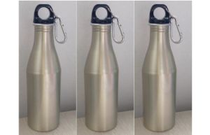 500ml Custom Logo Printing Aluminum Water Bottle, Plastic Metal Water Bottle With Carabiner