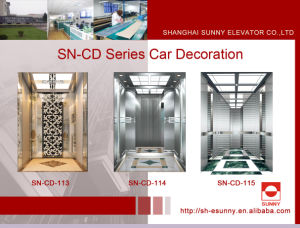 Passenger Elevator Car with Hairline Etching Middle Panel (SN-CD-113) pictures & photos