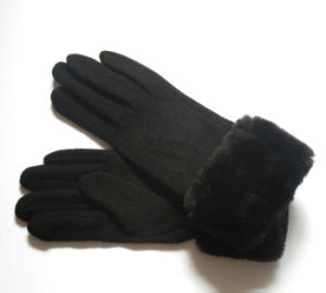 Lady Fashion Fur Wool Nylon Knitted Winter Warm Gloves (YKY5469-1) pictures & photos