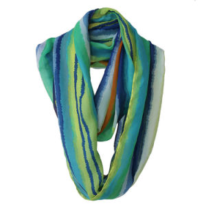 Lady Fashion Striped Printed Polyester Chiffon Infinity Summer Scarf (YKY1114) pictures & photos