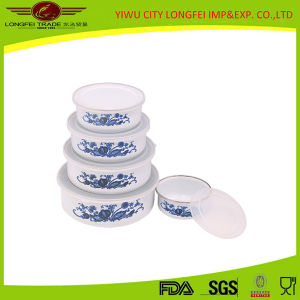 Household Enamel Food Bowl with Plastic Lid pictures & photos