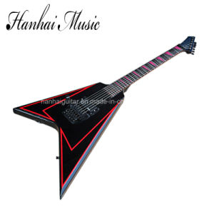 Hanhai Music / Flying V Black Left Handed Electric Guitar pictures & photos
