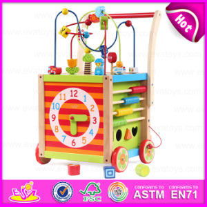 2015 New Baby Round Bead Wooden Push Along Toy, Push Wooden Baby Walker, Hot Selling Wooden Push Toy with String Beads Toy W16e038 pictures & photos