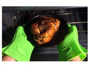 Double Silicone Heat Resistant Gloves BBQ Industrial Oven Gloves pictures & photos