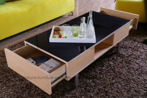 Modern Wooden Coffee Table with Tempered Glass Top and Steel Feet (AD-FY-N501-CJ) pictures & photos