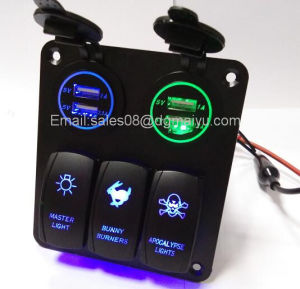 Newest 12V 3 Gang LED Rocker Switch + 4 LED USB Socket Panel Marine Boat RV Breaker pictures & photos