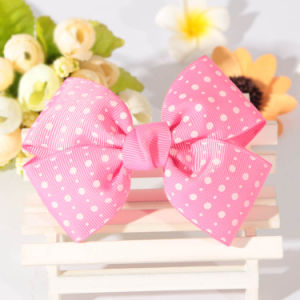 Polyester DOT Printed Decoration Ribbon Bow for Girl