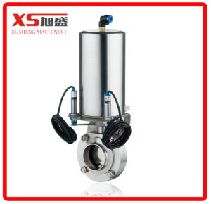 Stainless Steel Sanitary Pneumatic Butterfly Valve with Vertical Spring Return Actuation pictures & photos