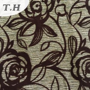 2016 Hot Sell Flocking Sofa Fabric with Beautiful Rose Pattern pictures & photos