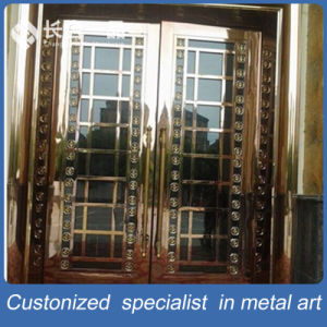 Customized Rose Gold Mirror Security Entrace Door with Tempered Glasses pictures & photos