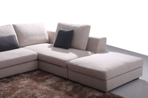 Hot-Selling Home Furniture Living Room Beige Fabric Sofa Set (HC574) pictures & photos