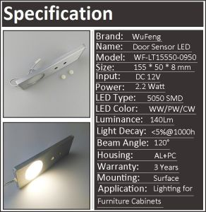 IR Door Inductive LED Cabinet Lamp pictures & photos