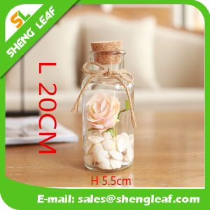 Glass Bottle for Dried Flower Bottle with Wooden Plug pictures & photos