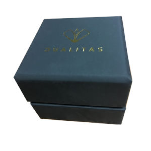 Matt Black Paper Jewelry Box with Hingle Lid and Foiled Golden Logo pictures & photos