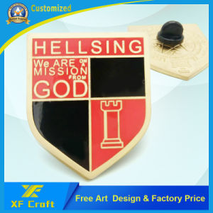 Souvenir Gift Custom Enamel Gold Plated Metal Emblem Pins with Any Logo (XF-BG09) pictures & photos