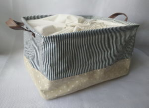 Rect Canvas Storage Basket with 2 Handles