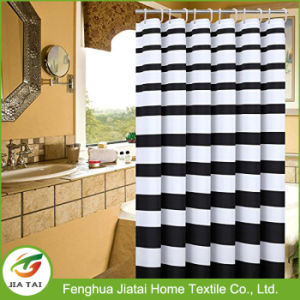 Black White Horizontal Striped Fabric Bathroom Shower Curtain
