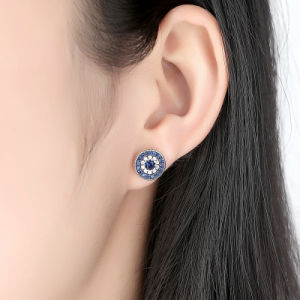 925 Sterling Silver Blue Crystals God′s Hand Stud Earrings, Clear CZ Sterling Silver Earrings pictures & photos