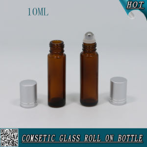 10ml Amber Glass Roll on Bottle with Aluminum Cap and Stainless Roller pictures & photos