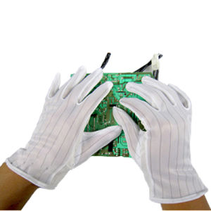 Cleanroom ESD PVC Stripe Dotted White Work Gloves pictures & photos